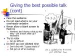 giving the best possible talk cont