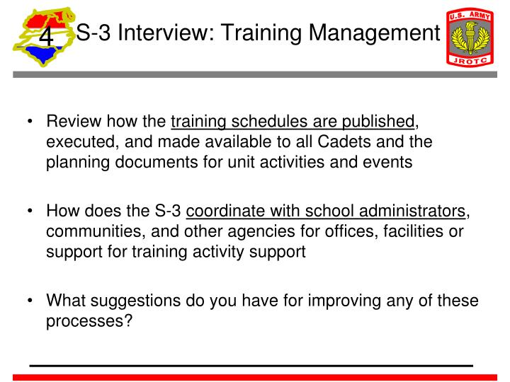 S-3 Interview: Training Management