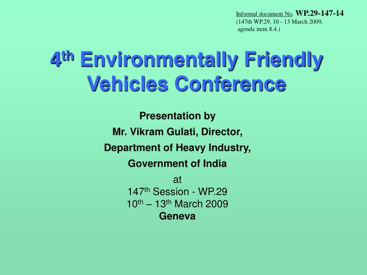 4 th environmentally friendly vehicles conference n.