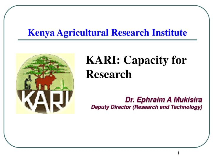 kenya agricultural research institute n.