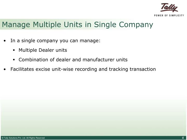 Manage Multiple Units in Single Company