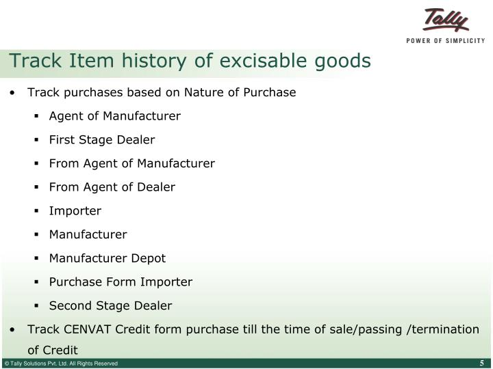 Track Item history of excisable goods