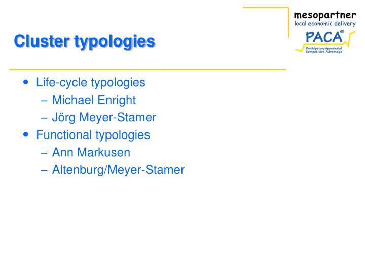 Cluster typologies