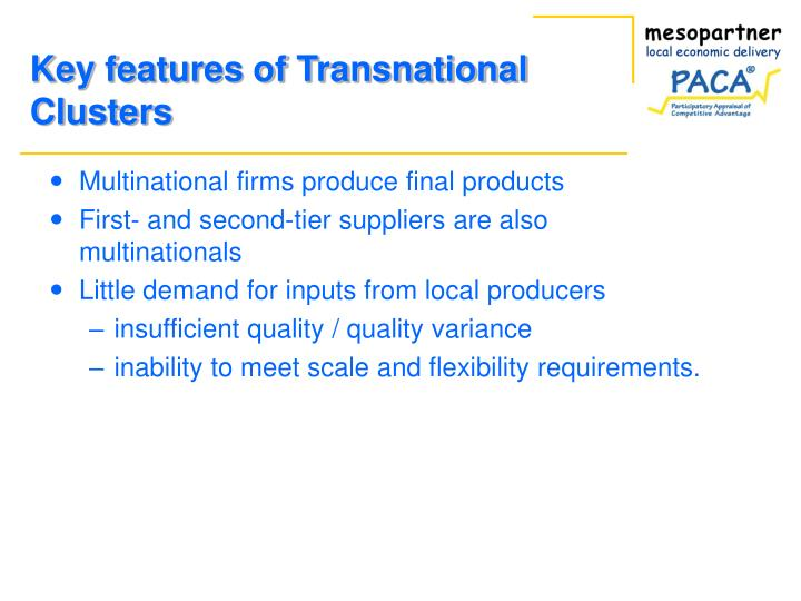 Key features of Transnational Clusters