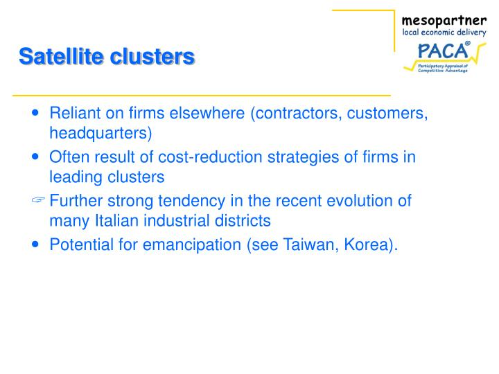 Reliant on firms elsewhere (contractors, customers, headquarters)