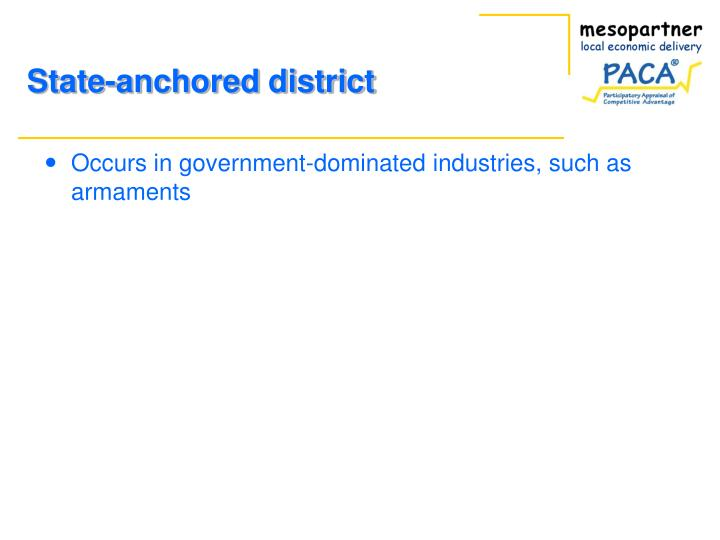 Occurs in government-dominated industries, such as armaments