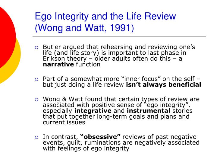 Ego Integrity and the Life Review (Wong and Watt, 1991)