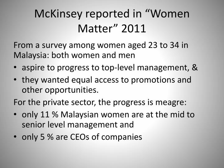 "McKinsey reported in ""Women Matter"" 2011"