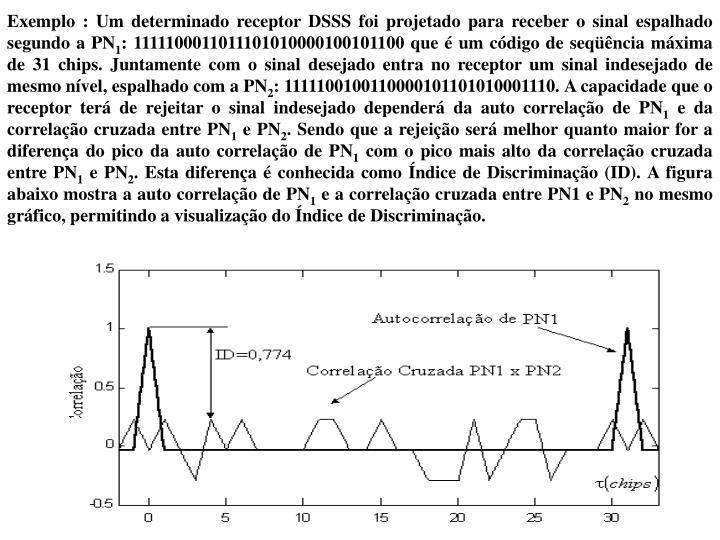 Exemplo : Um determinado receptor DSSS foi projetado para receber o sinal espalhado segundo a PN