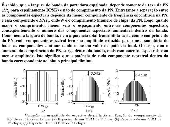 É sabido, que a largura de banda da portadora espalhada, depende somente da taxa da PN (