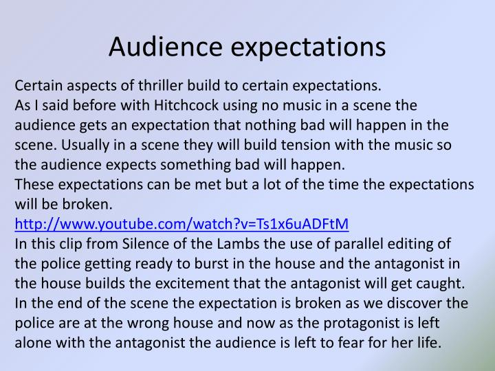 audience expectations essay Adapting to your audience when you communicate ideas you need to know your audience's expectations about the writing what format is it expecting.