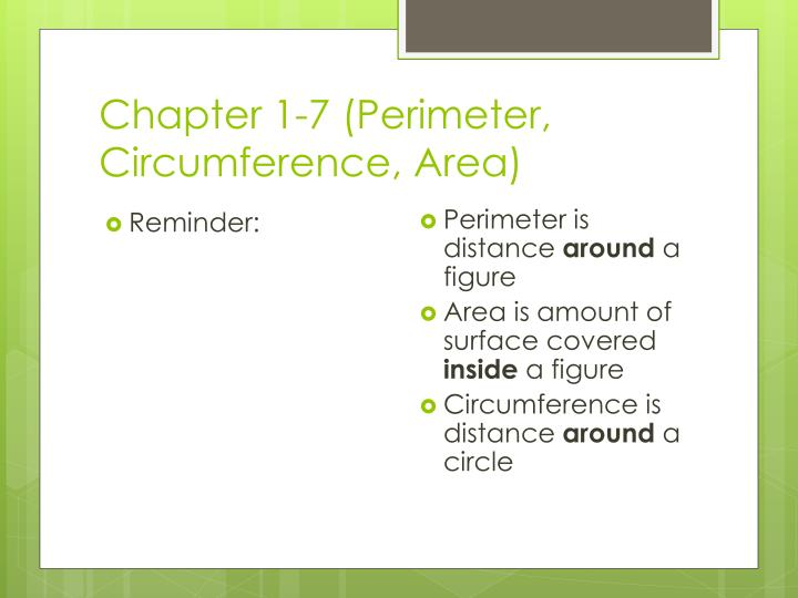 chapter 1 7 perimeter circumference area n.