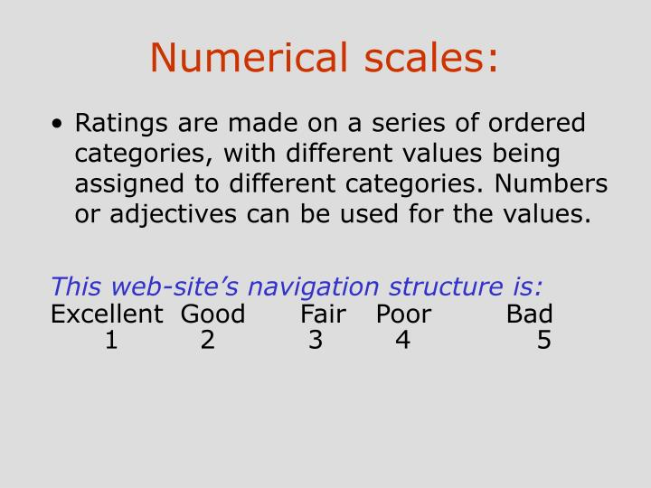 Numerical scales: