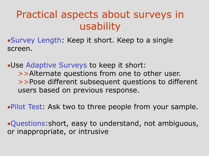Practical aspects about surveys in usability