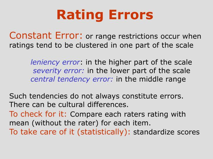 Rating Errors