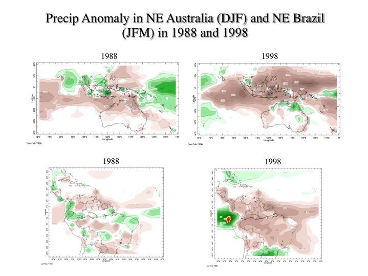 Precip Anomaly in NE Australia (DJF) and NE Brazil (JFM) in 1988 and 1998