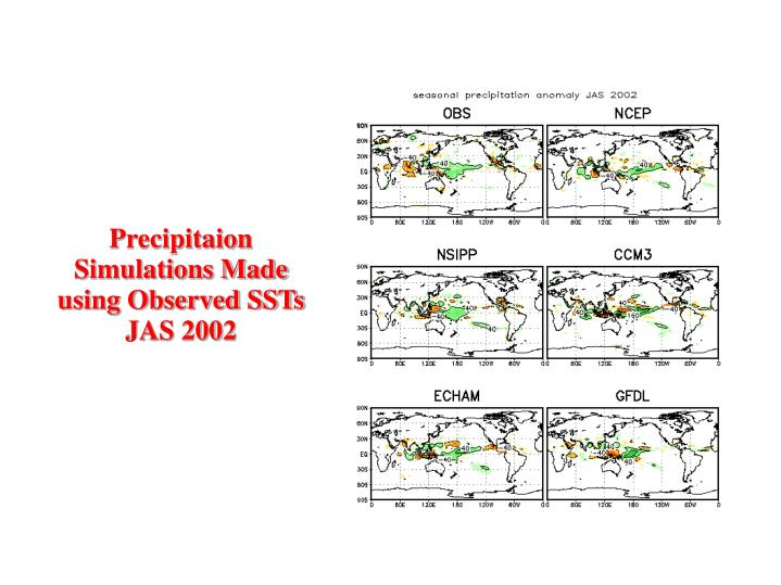 Precipitaion Simulations Made using Observed SSTs