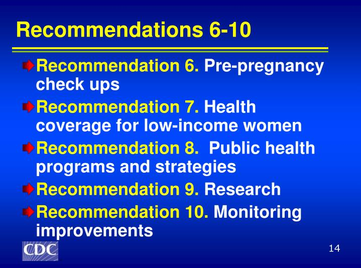 Recommendations 6-10