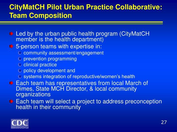 CityMatCH Pilot Urban Practice Collaborative: Team Composition