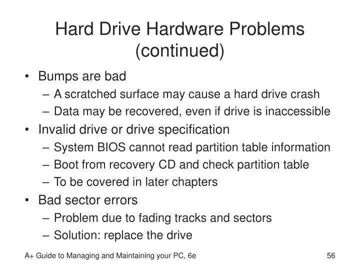 Hard Drive Hardware Problems (continued)