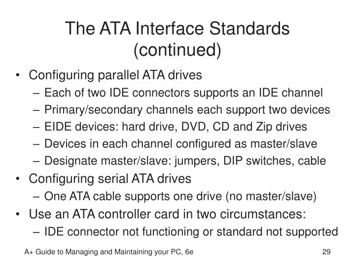 The ATA Interface Standards (continued)