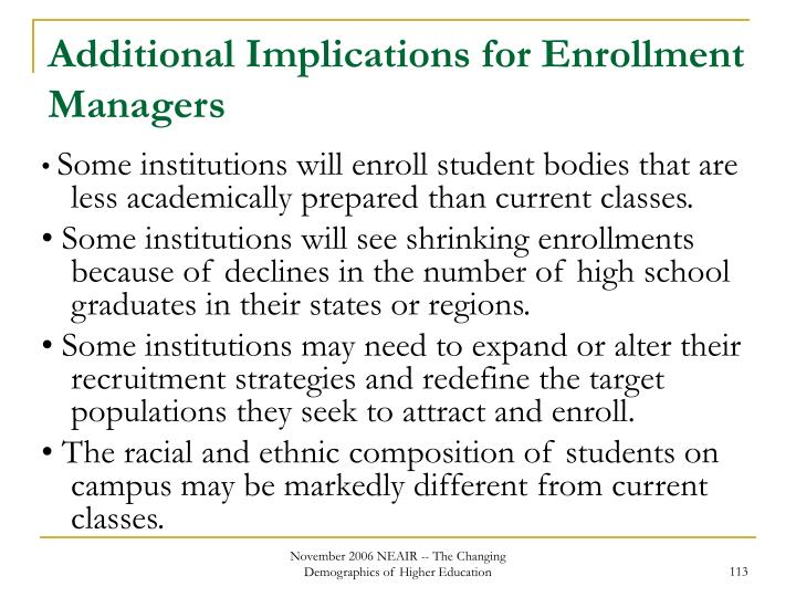 Additional Implications for Enrollment Managers