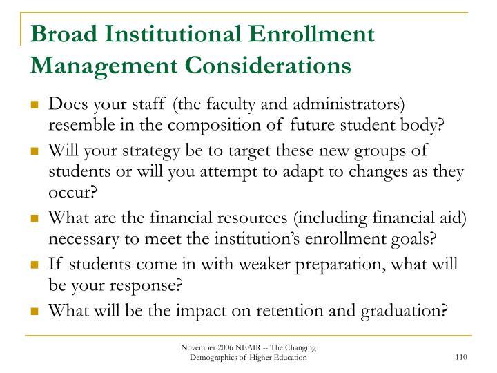 Broad Institutional Enrollment Management Considerations