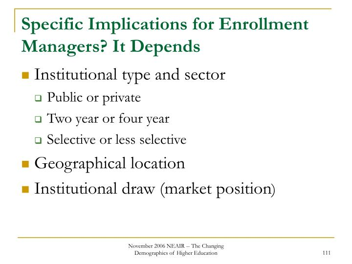 Specific Implications for Enrollment Managers? It Depends