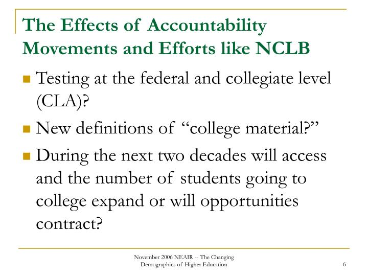 The Effects of Accountability Movements and Efforts like NCLB