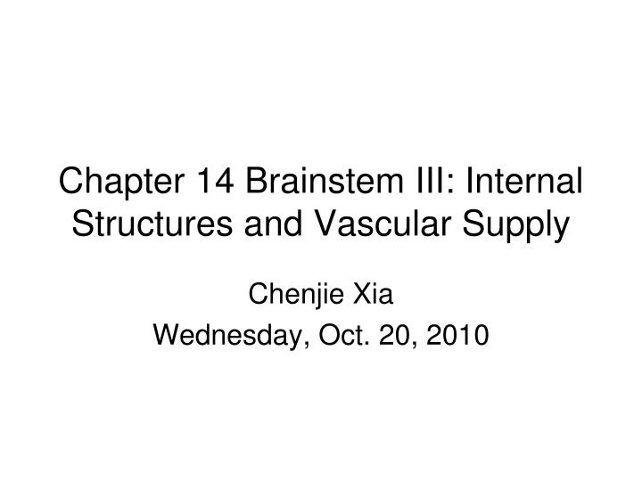 chapter 14 brainstem iii internal structures and vascular supply n.