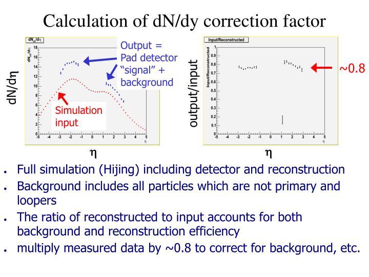 Calculation of dN/dy correction factor