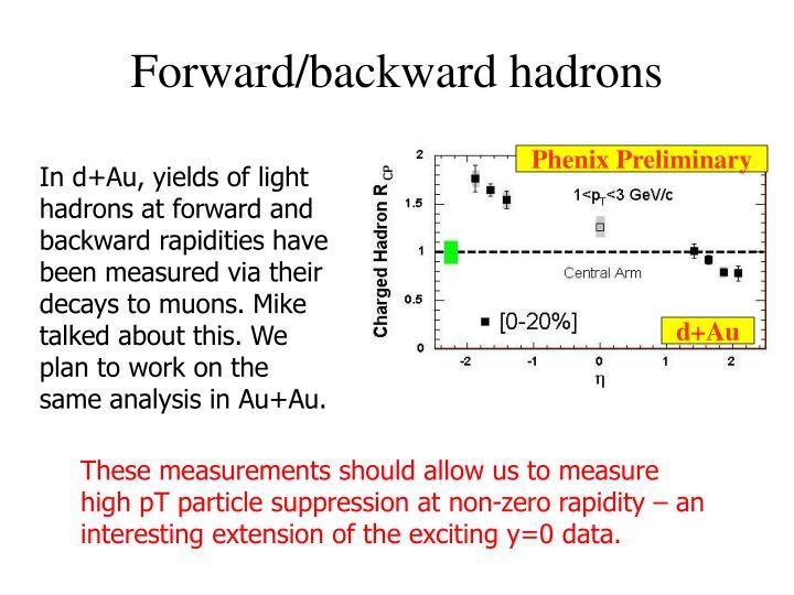 Forward/backward hadrons