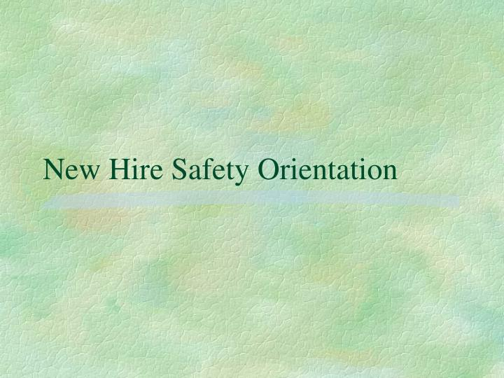 new hire safety orientation n.