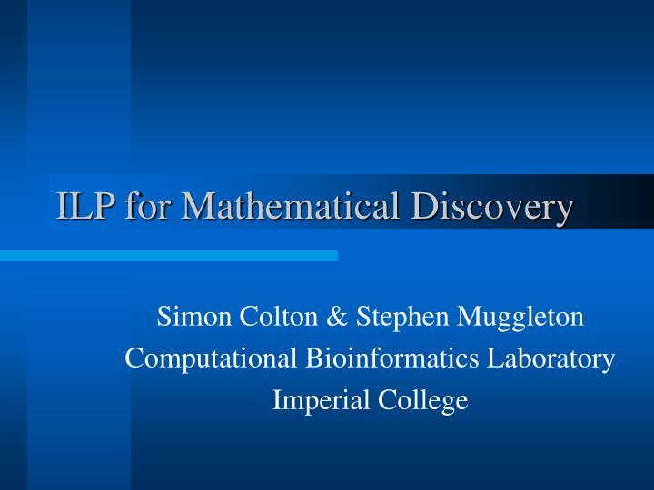 ilp for mathematical discovery n.
