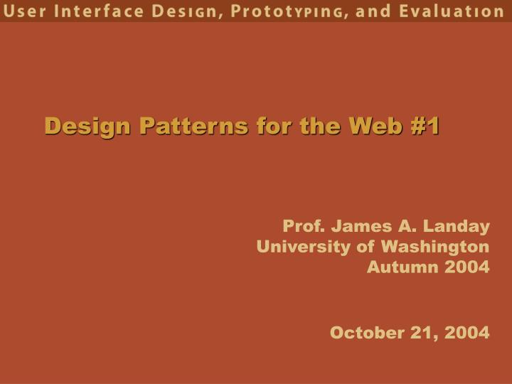 design patterns for the web 1 n.