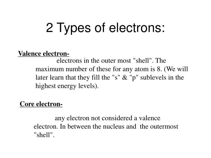 2 Types of electrons: