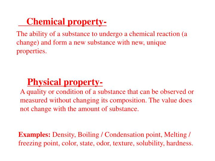The ability of a substance to undergo a chemical reaction (a change) and form a new substance with new, unique properties.