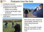 podcasts from the field