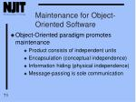 maintenance for object oriented software
