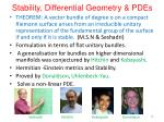 stability differential geometry pdes