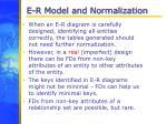 e r model and normalization