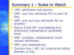summary 1 rules to watch