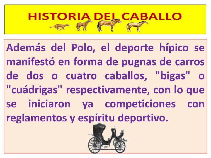 """Además del Polo, el deporte hípico se manifestó en forma de pugnas de carros de dos o cuatro caballos, """"bigas"""" o """""""