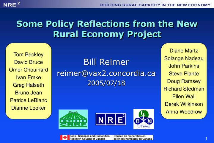 some policy reflections from the new rural economy project n.