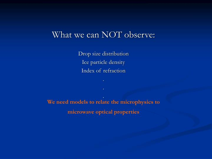 What we can NOT observe: