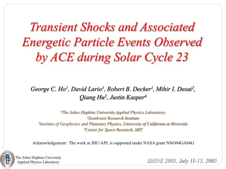 transient shocks and associated energetic particle events observed by ace during solar cycle 23 n.