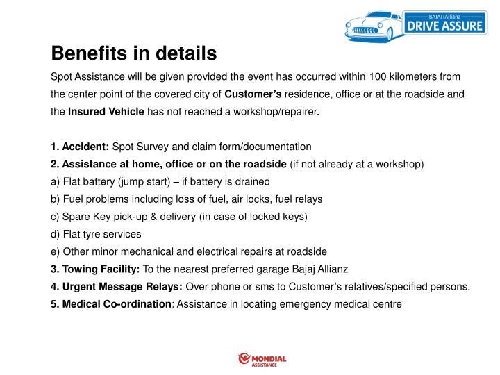 Benefits in details