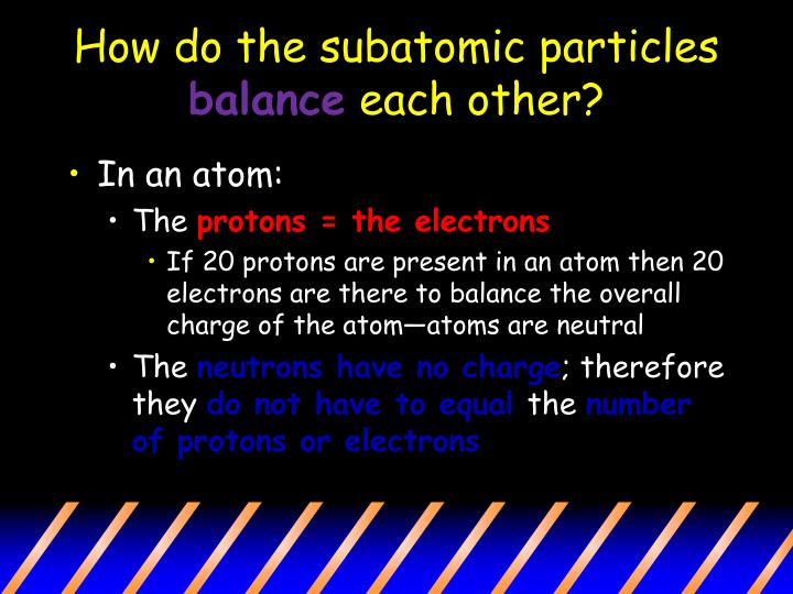 How do the subatomic particles