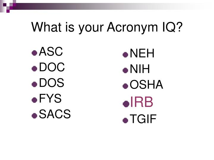 what is your acronym iq n.