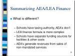 summarizing aea lea finance1